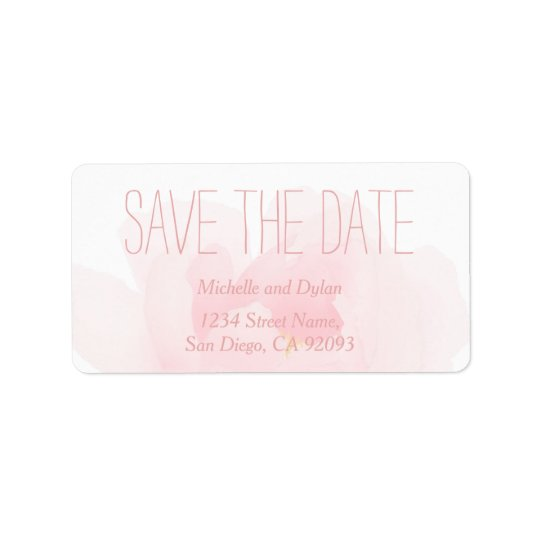 Watercolor Light Pink Peony Wedding Save the Date Address Label