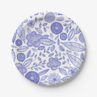 Watercolor Lilac flowers 7 Inch Paper Plate