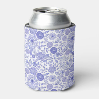 Watercolor Lilac flowers Can Cooler