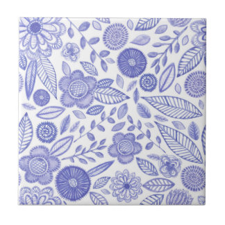 Watercolor Lilac flowers Ceramic Tile
