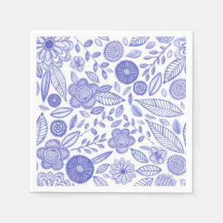 Watercolor Lilac flowers Disposable Napkin