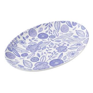 Watercolor Lilac flowers Porcelain Serving Platter