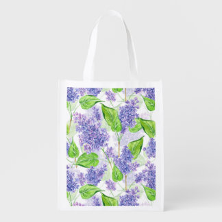 Watercolor lilac flowers reusable grocery bag