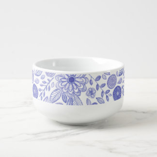Watercolor Lilac flowers Soup Bowl With Handle