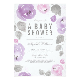 Watercolor Lilac Roses Romantic Baby Shower Invite