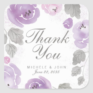 Watercolor Lilac Roses Thank You Favor Stickers