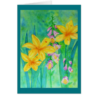 Watercolor lilies and foxglove card