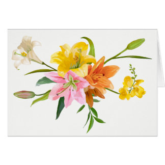 Watercolor Lily Flowers - Love, Thinking of You Card