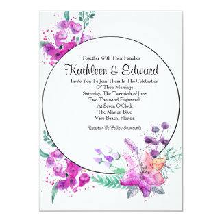 Watercolor Lily Pink & Purple Wedding Invitation