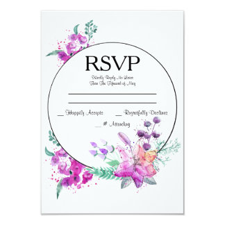 Watercolor Lily Pink & Purple Wedding RSVP Card