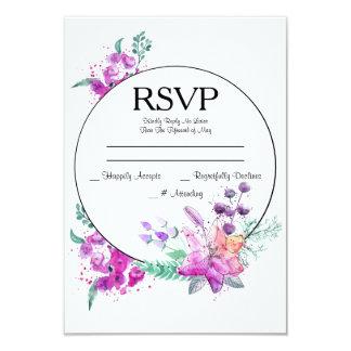 Watercolor Lily Pink & Purple Wedding RSVP Card 9 Cm X 13 Cm Invitation Card