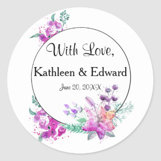 Watercolor Lily Pink & Purple Wedding Sticker