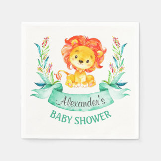 Watercolor Lion Baby Shower Paper Napkins