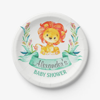 Watercolor Lion Baby Shower Paper Plate