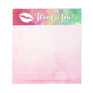 Watercolor Lips Personalized Notepad
