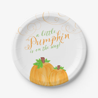 Watercolor Little Pumpkin Fall Baby Shower Paper Plate