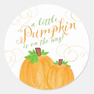 Watercolor Little Pumpkin Fall Baby Shower Round Sticker