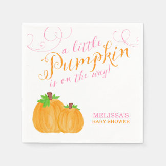 Watercolor Little Pumpkin Fall Girl Baby Shower Disposable Serviettes