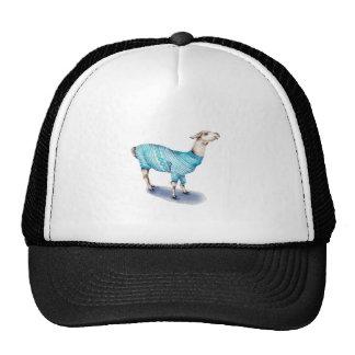 Watercolor Llama in Blue Sweater Cap