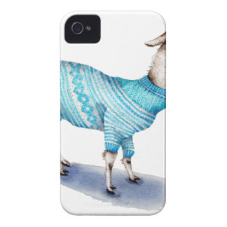 Watercolor Llama in Blue Sweater iPhone 4 Case