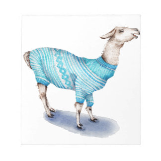 Watercolor Llama in Blue Sweater Notepad