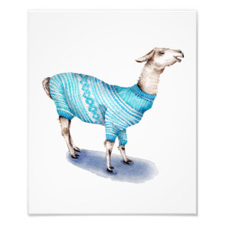 Watercolor Llama in Blue Sweater Photo Print