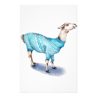 Watercolor Llama in Blue Sweater Stationery