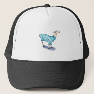 Watercolor Llama in Blue Sweater Trucker Hat