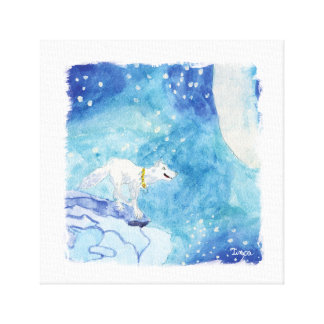 Watercolor Lone White Wolf Canvas Wall Art