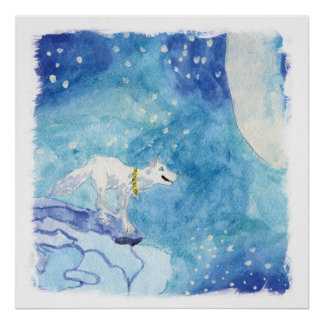 Watercolor Lone White Wolf Poster