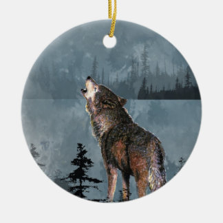 Watercolor Lonely Wolf Howling across Lake Ceramic Ornament