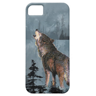 Watercolor Lonely Wolf Howling across Lake iPhone 5 Cover