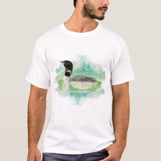 Watercolor Loon, Diver, Bird, Animal Nature T-Shirt