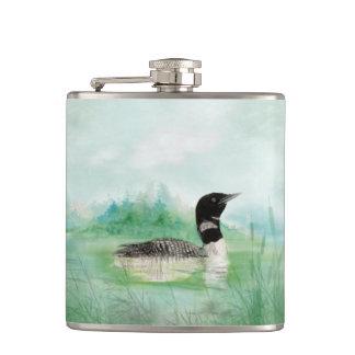Watercolor Loon Wilderness Bird Nature Art Hip Flask