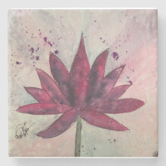 Watercolor Lotus Flower Coasters Stone Coaster