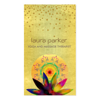 Watercolor Lotus Flower Logo Yoga Healing Health Pack Of Standard Business Cards