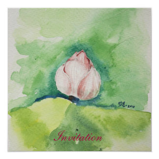 Watercolor Lotus Invitation Card
