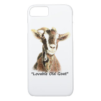 """Watercolor """"Lovable Old Goat""""  Farm Animal art iPhone 8/7 Case"""
