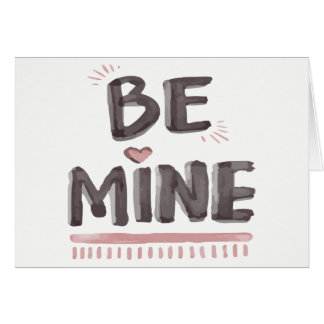 Watercolor Love Be Mine Gray and Pink Card