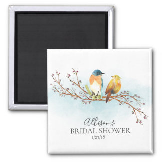 Watercolor Love Birds Shower Favor  Magnet