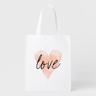 Watercolor love heart reusable shopping tote bag
