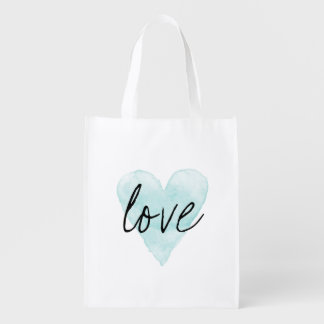 Watercolor love heart reusable shopping tote bag