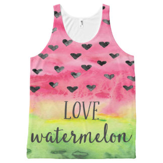 Watercolor Love Watermelon Hearts All-Over Print Singlet