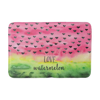 Watercolor Love Watermelon Hearts Bath Mat