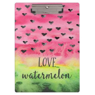 Watercolor Love Watermelon Hearts Clipboard