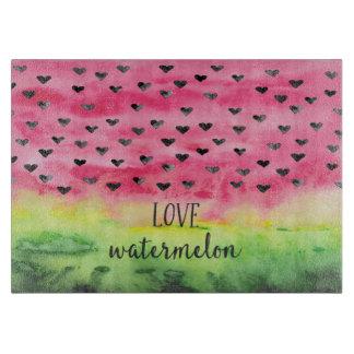 Watercolor Love Watermelon Hearts Cutting Board