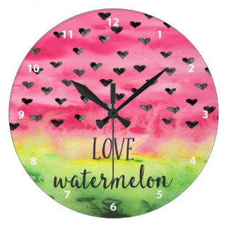 Watercolor Love Watermelon Hearts Large Clock