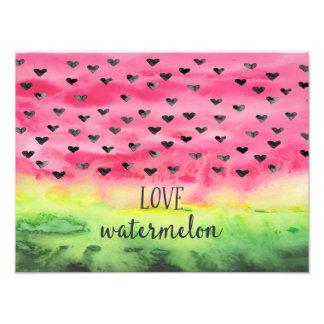 Watercolor Love Watermelon Hearts Photo Print
