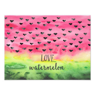Watercolor Love Watermelon Hearts Photograph
