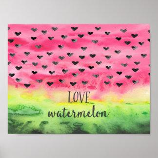 Watercolor Love Watermelon Hearts Poster
